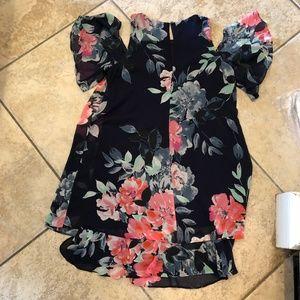 Eliza J floral cut out sleeve flowy dress